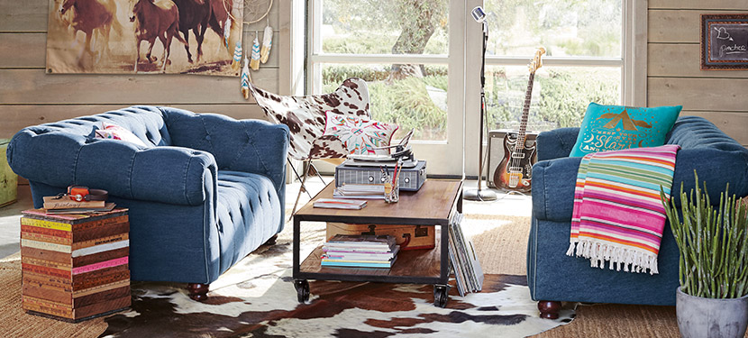 Junk Gypsy Denim Tufted Lounge