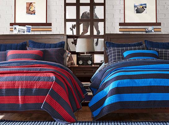 Beadboard rugby stripe bedroom pbteen for Boys rugby bedroom ideas