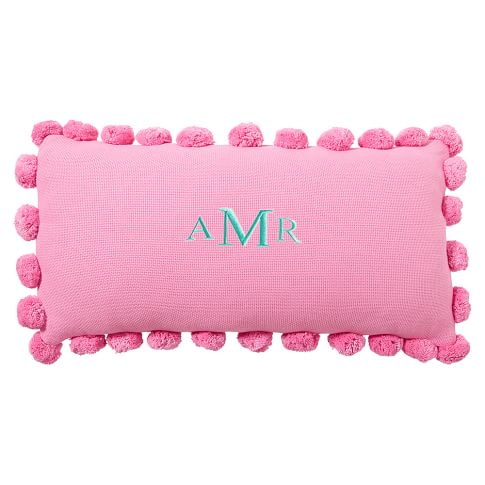 "Pom Pom Organic Pillow Cover, 12x24"", Bright Pink"