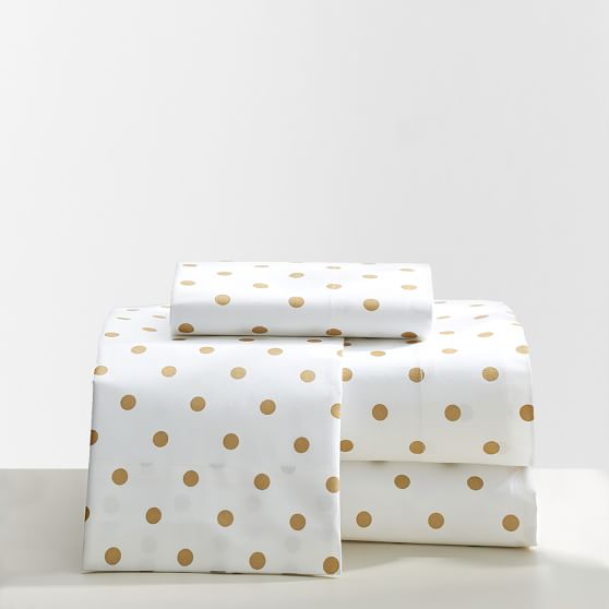 The Emily & Meritt Metallic Dottie Sheet Set, Twin/Twin XL