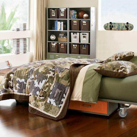 Locker Bed Drawers  PBteen ~ 071408_Camo Dorm Room Ideas