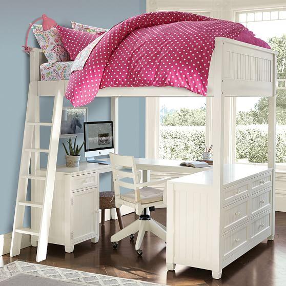 Beadboard Loft Bed Pbteen