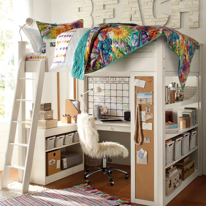 white metal loft bed with desk 3