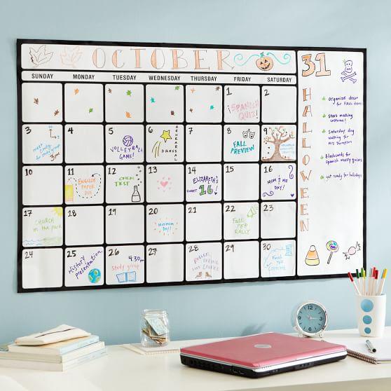 Dry Erase Calendar Boards : Dry erase calendar decal pbteen