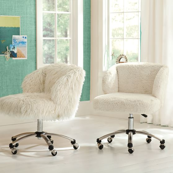 Ivory sherpa faux fur wingback desk chair pbteen for Kids fluffy chair