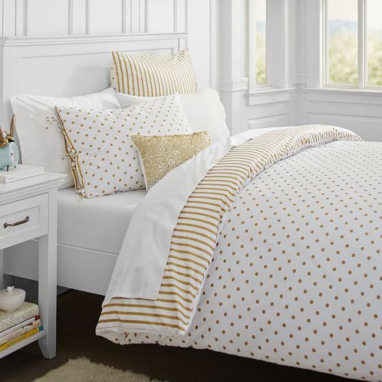 the emily meritt metallic dottie duvet cover sham pbteen. Black Bedroom Furniture Sets. Home Design Ideas