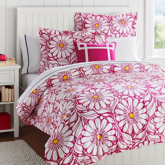 Daisy Dot Duvet Cover, Twin, Pink Magenta