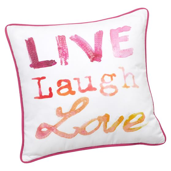 Inspire Me Pillow Cover, 16x16, Live Laugh Love