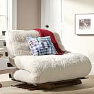 Futon Mattress + Base, Twin, Sherpa Ivory Faux Fur
