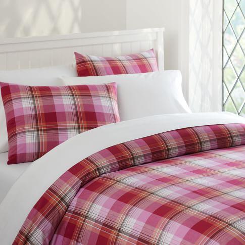 Prescott Plaid Duvet Cover, Twin, Pink