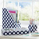 Printed Desk Desk Accessories, Navy Dottie