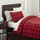 Fleece Duvet Cover, Twin, Buffalo Check Red