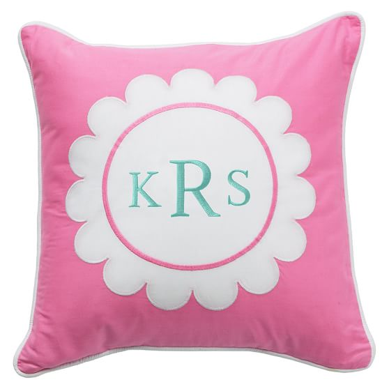 Monogram Pillow Cover, 16x16, Flower, Pillow Frame, Bright Pink Flower
