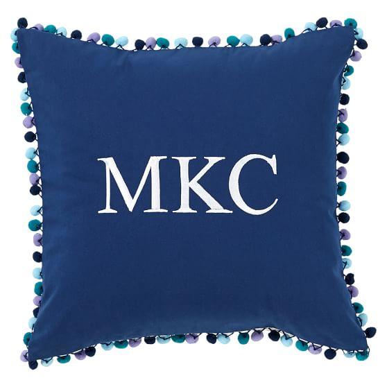Pom Pom Monogram Pillow Cover, 16x16, Cool