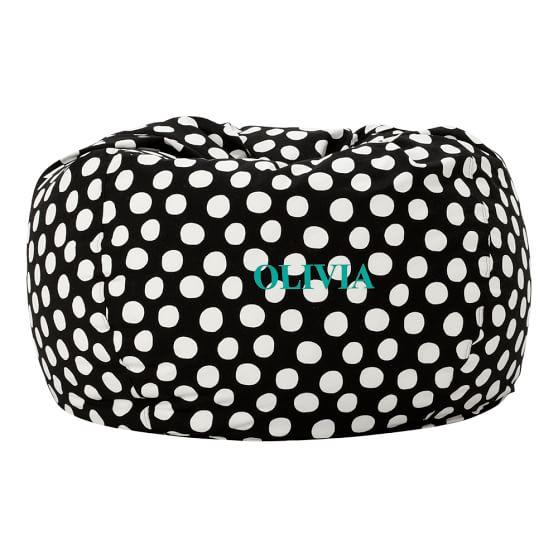 Black Painted Dot Large Beanbag Slipcover + Beanbag Insert