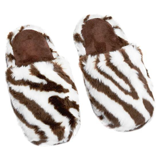 Furry Slippers, Small, Zebra
