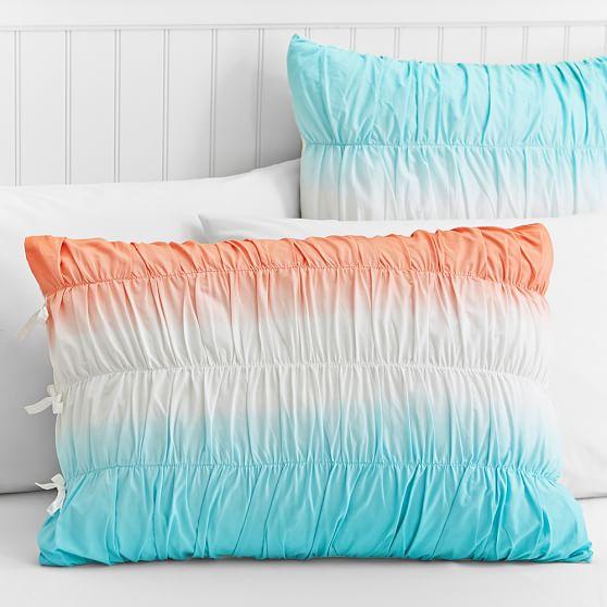 Dip Dye Ruched Duvet Cover, Standard Sham, Coral/Capri
