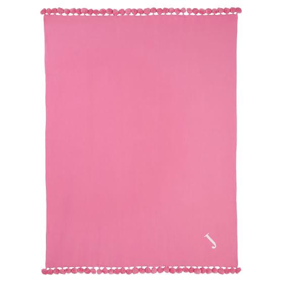Pom Pom Organic Throw, Bright Pink