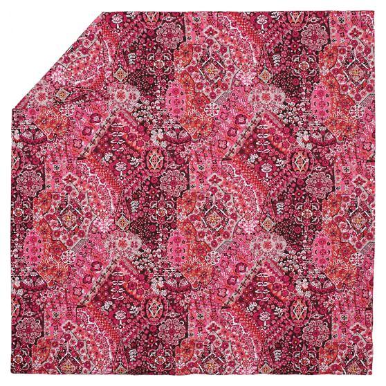 Lucia Mosaic Tile Duvet, Twin, Pink Multi