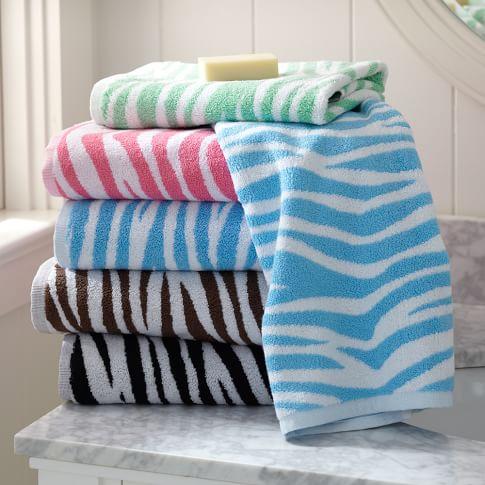 Zebra Bath Towel, Coffee