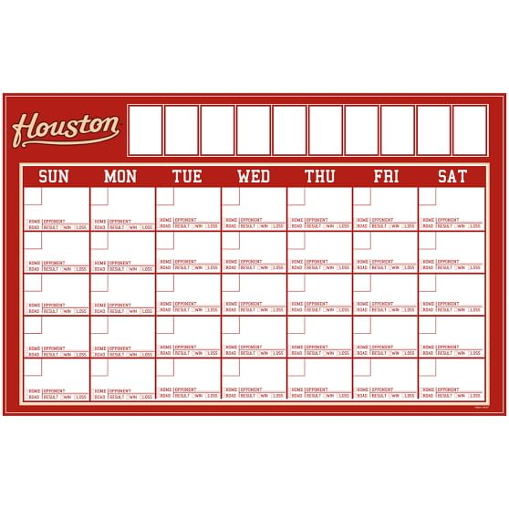 MLB Dry-Erase Calendar Decal, Houston Astros
