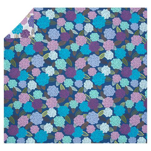 Chloe Floral Organic Duvet Cover, Twin, Blue Multi