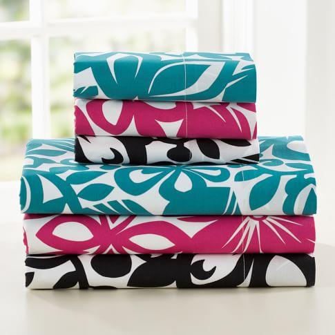 Isabel Floral Organic Sheet Set, Twin/Twin XL, Pink Magenta