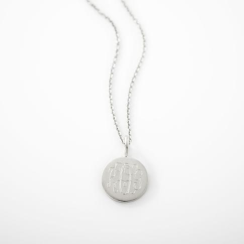 Sarah Chloe Necklace, Silver Monogram