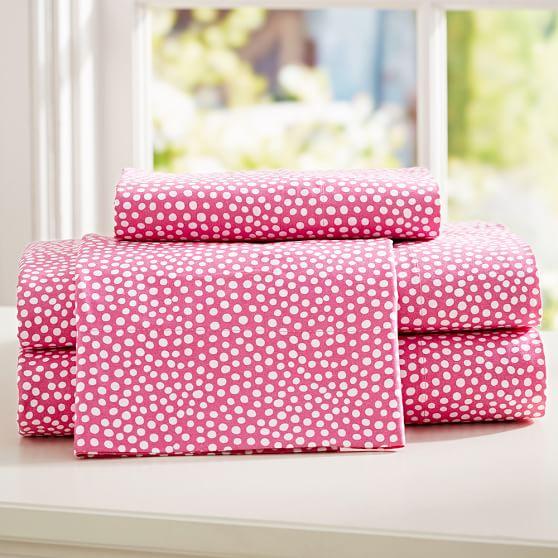 Mini Dot Sheet Set, Twin/Twin XL, Pink Magenta