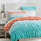 Dip Dye Ruched Duvet Cover, Twin, Coral/Capri