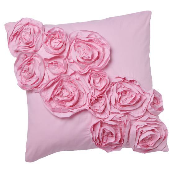 Rose Pillow Cover, 16x16, Pink Rosette