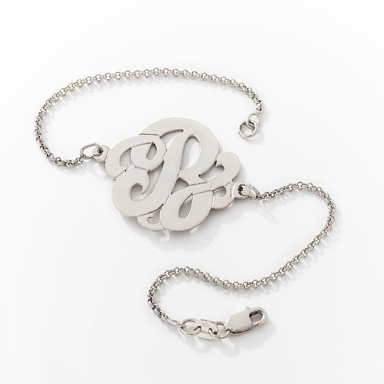 Single Cursive Monogram Bracelet, Silver