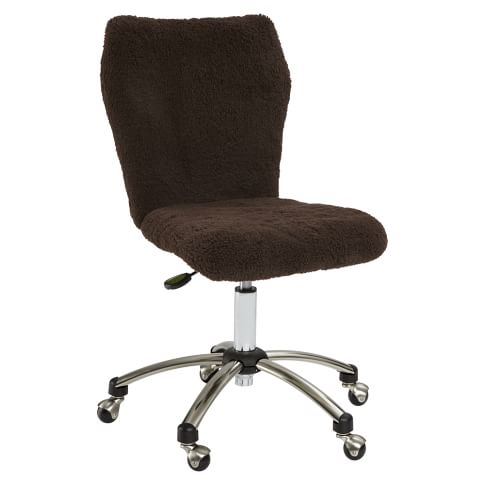 Airgo Chocolate Sherpa Armless Chair