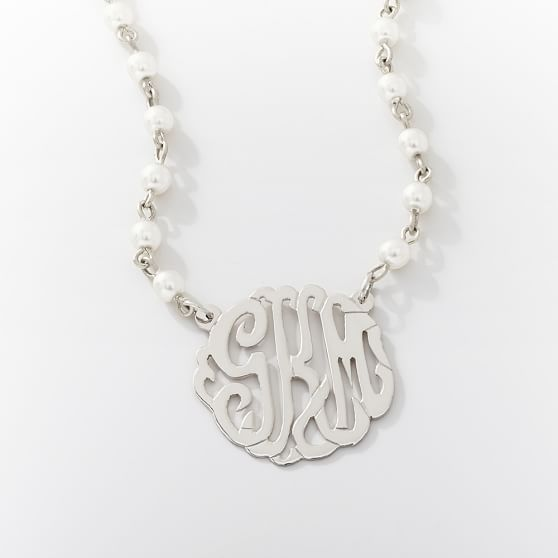 Monogram Pearl Necklace, Silver