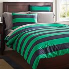 Rugby Stripe Duvet Cover, Full/Queen, Navy/Bright Green