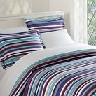 Dolce Stripe Duvet Cover, Twin, Plum