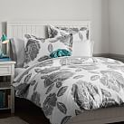 Floral Dot Duvet Cover + Sham, Twin, Light Grey