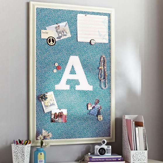 Sea Blue + White Framed Vertical Pinboard