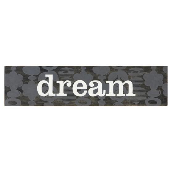 Word Plaque, Dream, Black/Gray