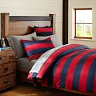 Rugby Stripe Duvet, Twin, Navy/ Red