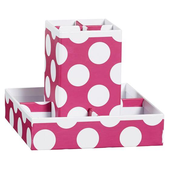 Printed Desk Accessories, Utility Caddy, Pink Dottie