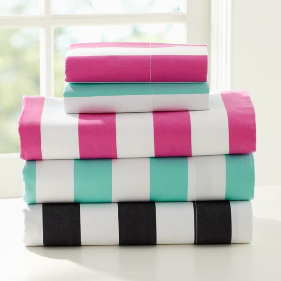 Cottage Stripe Sheet Set, Queen, Pink Magenta