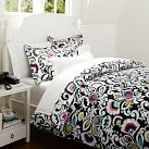 Jules Floral Duvet, Twin, Black Multi