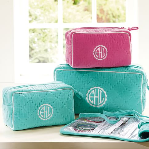 Quilted Velvet Small Beauty Case, Pool