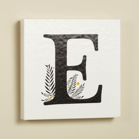 Alphabet Canvas Wall Art, E, Black/White