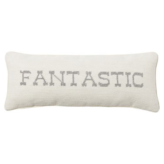 The Emily & Meritt The Shimmer Needlepoint Word Pillow, 8x20, Silver, Fantastic