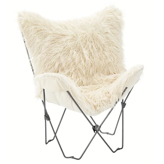 Furlicious Faux Fur Butterfly Chair Slipcover + Base