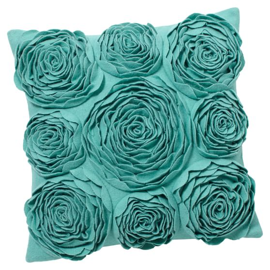 Fab Felt Pillow Cover, 16x16, Pool Rosette