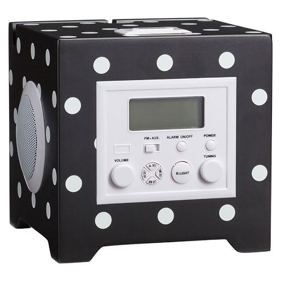 Rockin Alarm Clock, Cube, Black Dottie