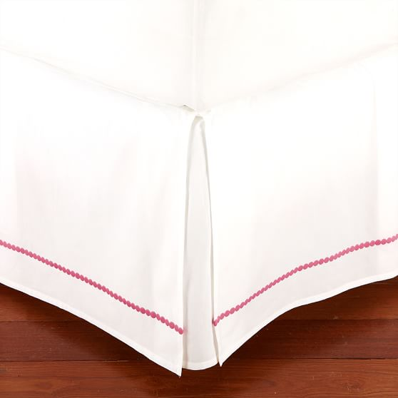 Pop Dot Bed Skirt, XL Twin, Bright Pink